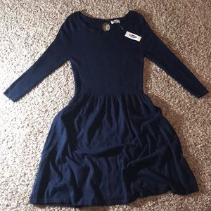 Long sleeve fit and flare navy sweater dress